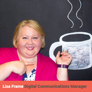 Lisa Frame Bio Headshot Chalkboard Coffee