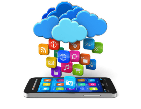 Graphic clouds with app icons raining