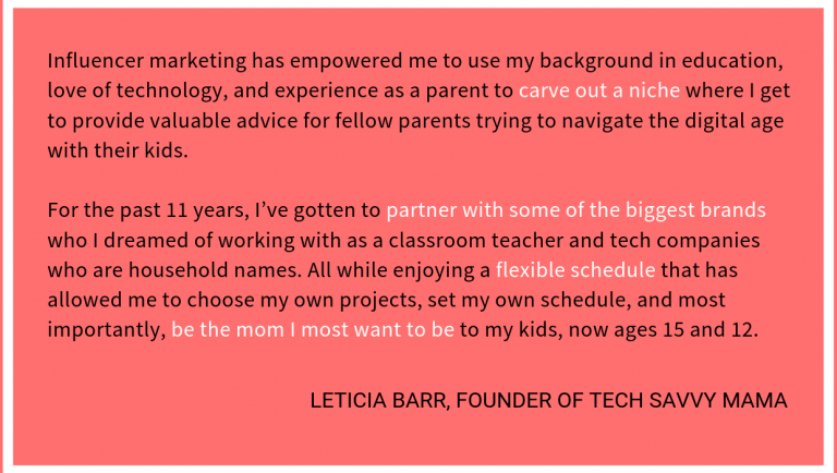 Influencer Marketing Empowerment Quote from Leticia Barr