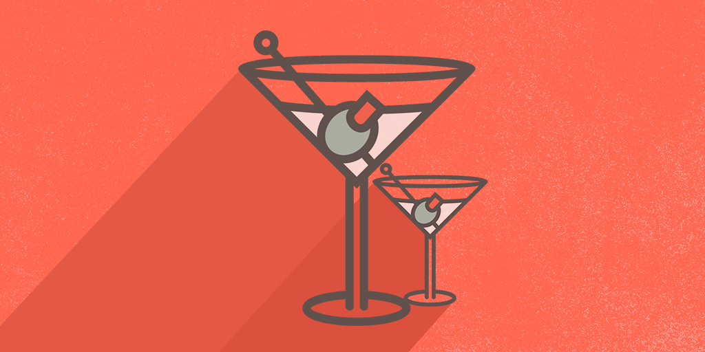 martini glasses on red background